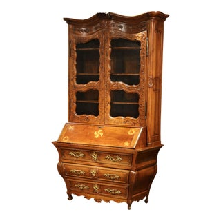18th Century Antique French Louis XV Carved Walnut Bombe Secretary Bookcase For Sale