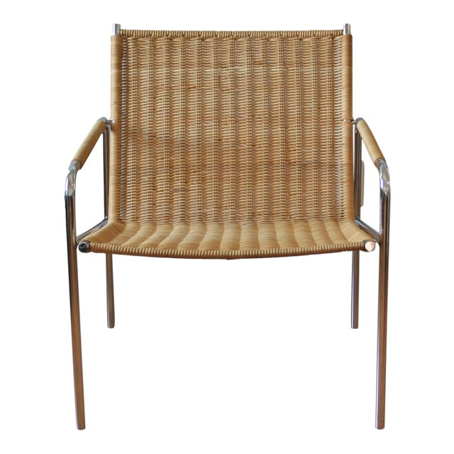 Vintage Martin Visser Style Chrome & Wicker Lounge - Image 1 of 6