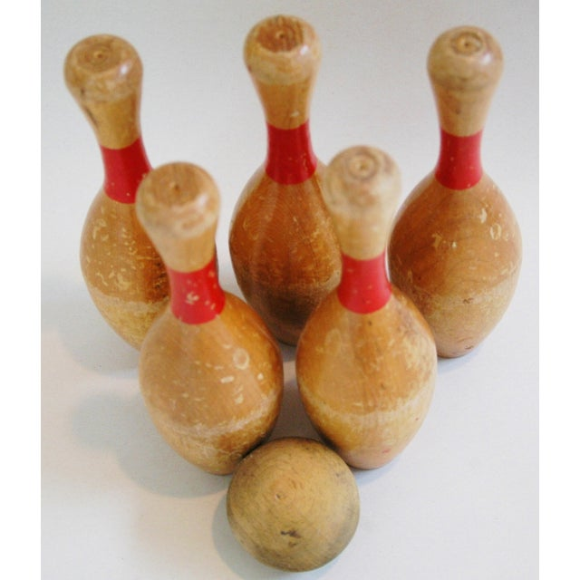 Vintage Child's Bowling Pins & Ball - Set of 6 - Image 8 of 8