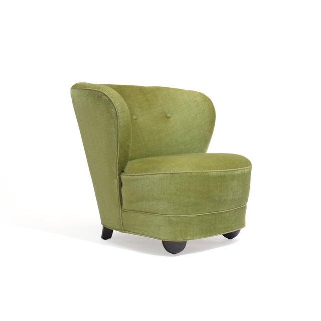 1930s Danish Slipper Chair in Original Green Mohair For Sale - Image 11 of 11