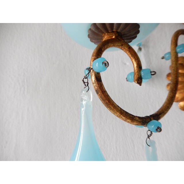 1920s French Blue Opaline Bobeches Drops & Beads Sconces - a Pair For Sale - Image 10 of 12