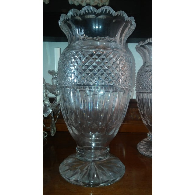 Waterford Crystal Antique Large Waterford Irish Crystal Vases - 2 For Sale - Image 4 of 9