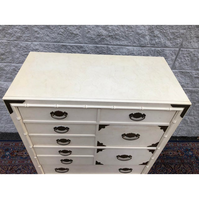 Late 20th Century Vintage Faux Bamboo Thomasville Huntley Five Drawer Dresser For Sale - Image 5 of 8