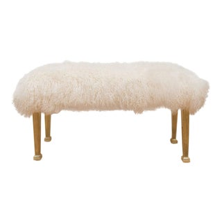 Polished Brass and Mongolian Wool Bench For Sale