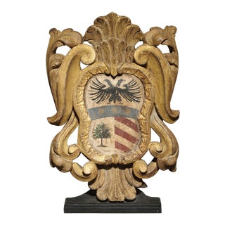 Antique Carved Giltwood and Polychrome Wooden Plaque From Italy, 18th Century For Sale