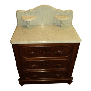 1870s Victorian Walnut Marble Top Washstand For Sale