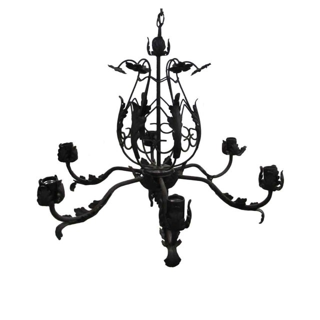 Black Iron Leaf Six Arm Chandelier For Sale - Image 4 of 4
