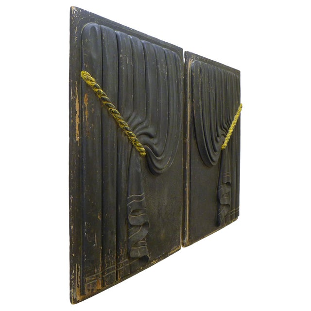 Pair of Early 20th Century Carved Wood Funeral Coach Curtain Panels For Sale - Image 4 of 5