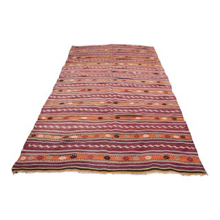 1950s Vintage Turkish Kilim Area Rug - 5′2″ × 8′1″ For Sale