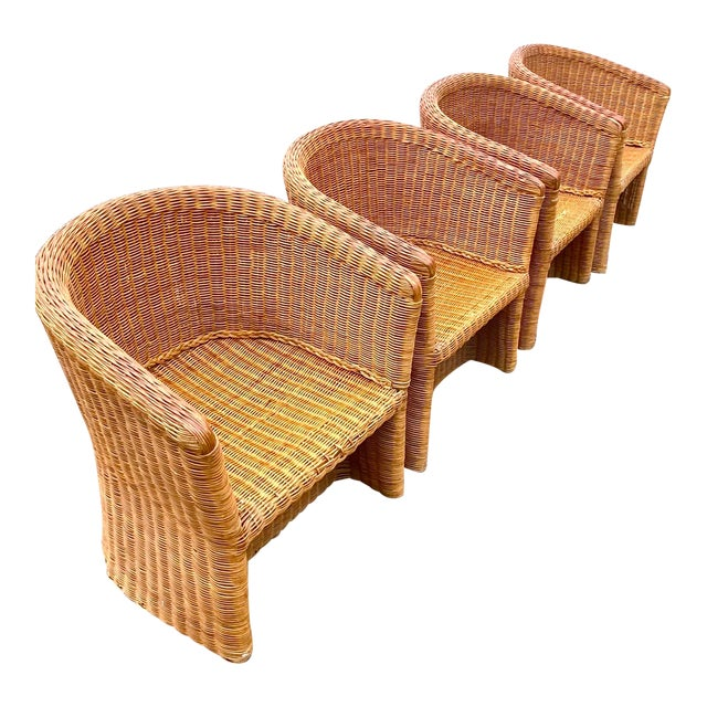 Vintage Boho Chic Rattan Barrel Chairs -Set of 4 For Sale