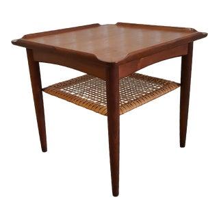 1960s Danish Modern Selig Teak Rattan Side Table For Sale