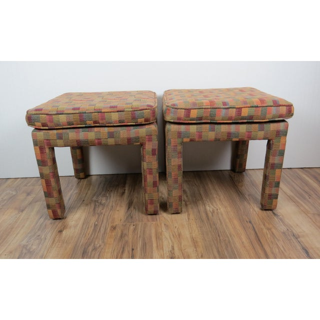 1980s Vintage Multicolor Parsons Stools - a Pair For Sale - Image 4 of 13