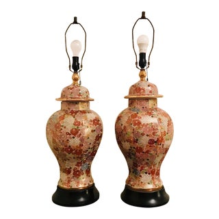 Mid-Century Gold Floral Eastern Ginger Jar Lamps - a Pair For Sale