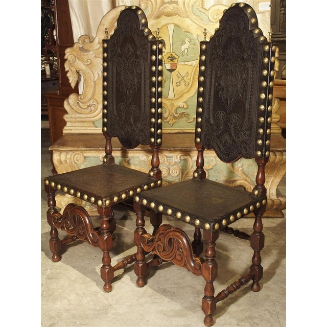 Pair of Antique Oak, Leather, and Brass Side Chairs From Portugal, 19th Century For Sale - Image 13 of 13