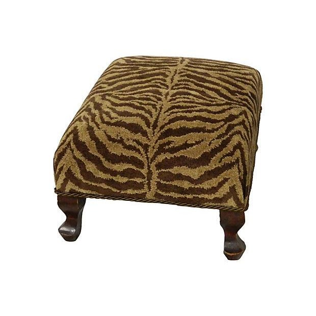 Vintage Chenille Tiger Ottoman - Image 2 of 4