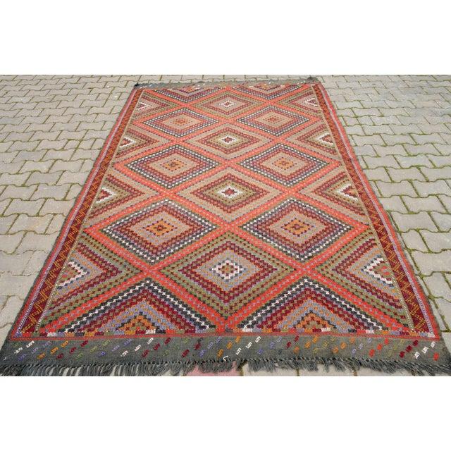 "Islamic Vintage Anatolia Turkish Hand Woven Cotton Rug - 5'5"" X 9'2"" For Sale - Image 3 of 10"