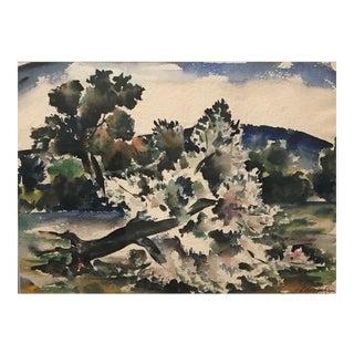 1944 John LeRoy Jackson Wpa Style Watercolor Painting For Sale