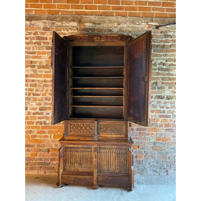 Gothic Revival Oak Cupboard Heavily Carved, circa 1850 For Sale - Image 9 of 13