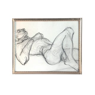 1960s Nude Male Figure Study Pencil Drawing For Sale