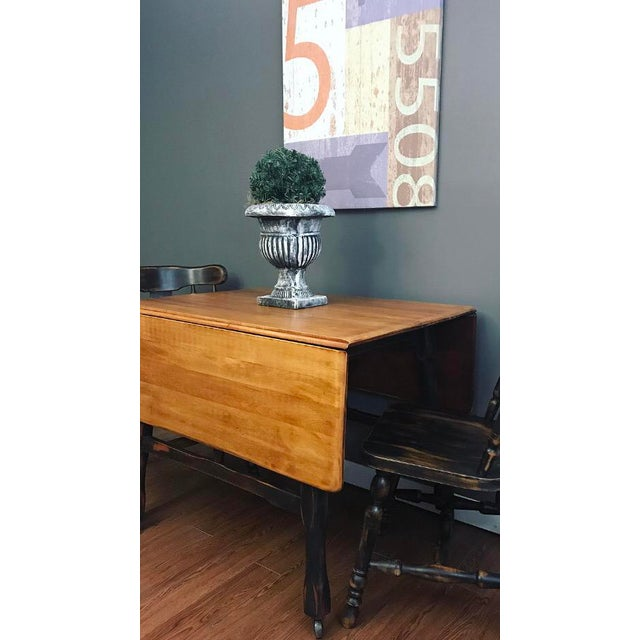 Black Distressed Drop Leaf Dining Table & Chairs - Set of 3 - Image 5 of 11