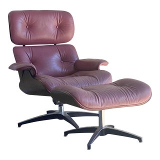 Vintage Lounge Chair and Ottoman in the Manner of Charles Eames For Sale