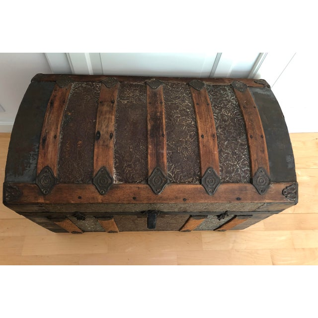 Late 1800s Irish Dome Top Carriage Trunk Chest For Sale - Image 4 of 13