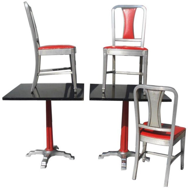 Speak Easy Art Deco Cabaret Cafe Tables With Alcoa Aluminum Chairs Set - 3 Pc. For Sale In Detroit - Image 6 of 7