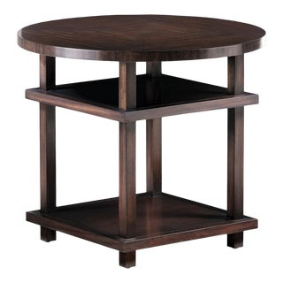 Transitional Tiered Lamp Table For Sale