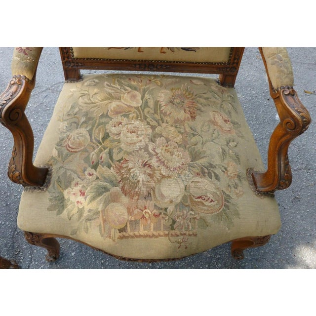 20th Century French Petit Point Needlepoint Seat Bergere Chairs - a Pair For Sale - Image 11 of 13