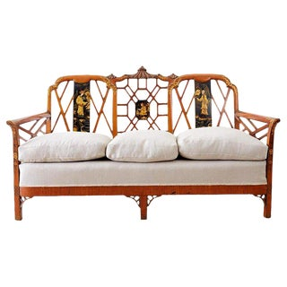 English Chinoiserie Chippendale Style Pagoda Top Settee For Sale