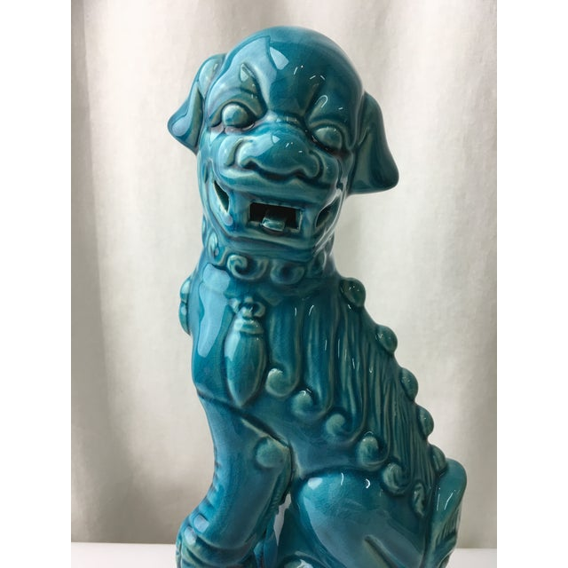 Asian Turquoise Foo Dog Figurine For Sale - Image 3 of 5