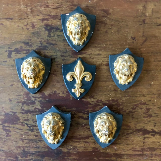 Antique French Plaster Lion Shield Plaques- Set of 6 For Sale In Buffalo - Image 6 of 6