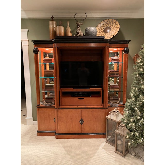 -National Mt. Airy Biedermeier style TV armoire in mint condition. Solid maple wood construction. The upper section has 3...