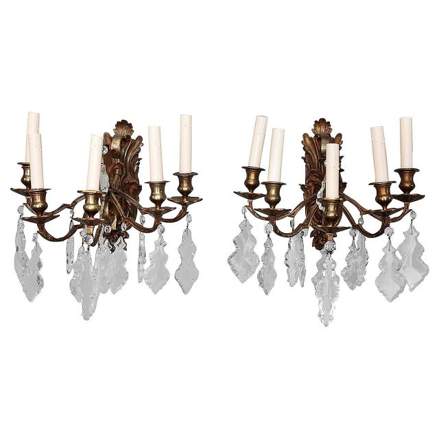 Pair of French 5 Light Bronze and Crystal Wall Sconces For Sale - Image 11 of 11