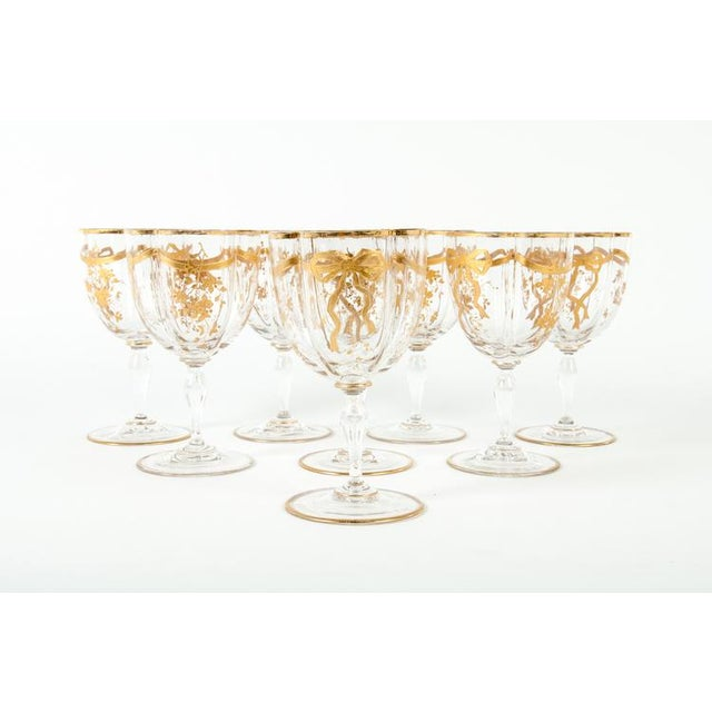 Late 19th Century Antique Set French Crystal Wine/ Water Glasses For Sale - Image 5 of 5