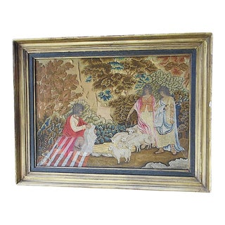 Original Antique French Silk Petit Point Embroidery C. Late 1700's For Sale