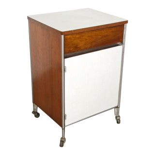 1950s Raymond Loewy Hill-Rom Walnut & White Laminate Rolling Cabinet For Sale