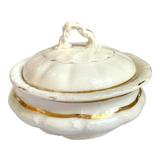 Antique Circular Ecuelle Butter Dish Sèvres Porcelain Gilt Louis XV Style For Sale