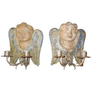 Italian Hand Carved and Painted Cherub Wood Polychrome Sconces - a Pair For Sale