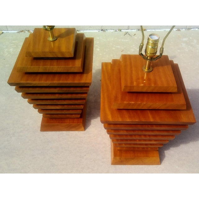 Mid-Century Wood Stacked Lamps - A Pair - Image 5 of 6