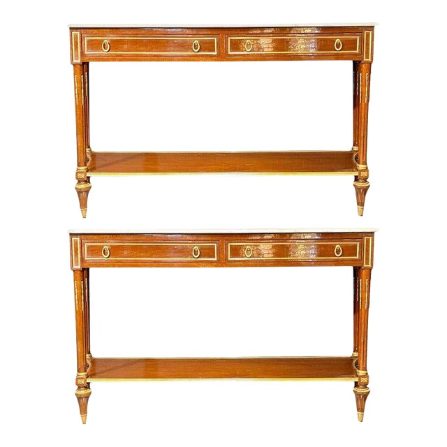 Pair of Louis XVI Style Marble Top Consoles / Sideboards in the Jansen Manner For Sale