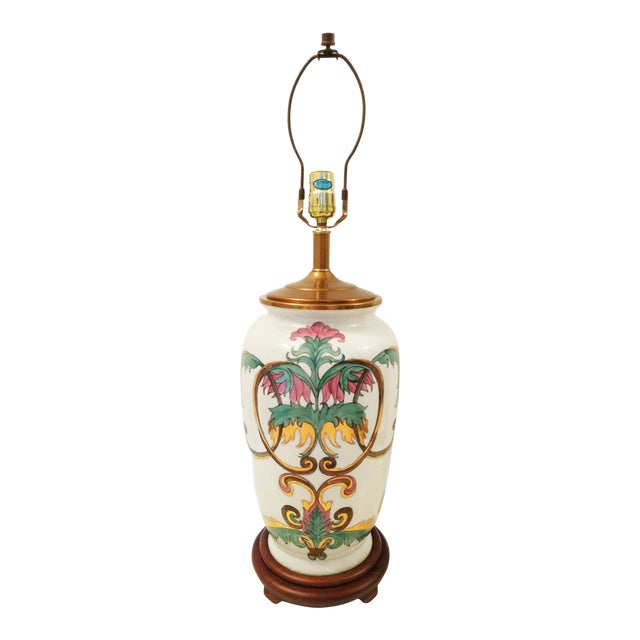 Vintage Crackle Glazed Chinoiserie Table Lamp - Image 1 of 4