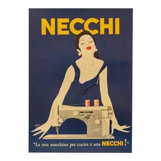 1950's Italian Sewing Machine Poster, Necchi (Blue) For Sale