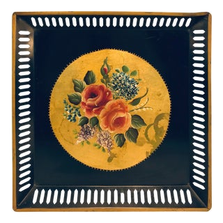 Square Pierced Hand Painted Tole Flowered Gold Tray For Sale