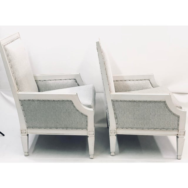 Drexel Heritage ContemporaryDrexel White Wood Accent Chair s - a Pair For Sale - Image 4 of 6