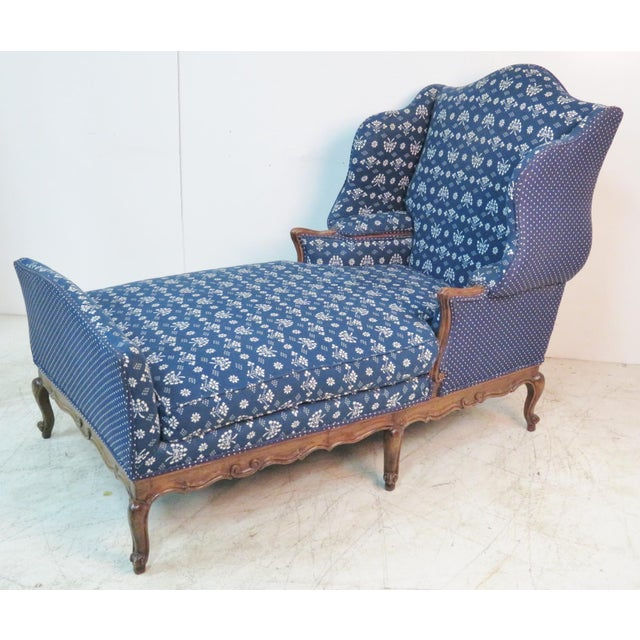 Textile Louis XV Trouvailles Style Blue Upholstered Chaise Lounge For Sale - Image 7 of 7