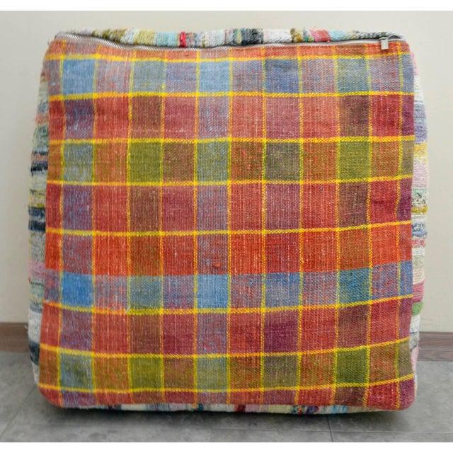 Hand Woven Kilim Floor Cushion Turkish Sitting Pillow- 22″ X 22″ - Image 6 of 8