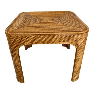 Vintage Pencil Reed Rattan Side Table For Sale