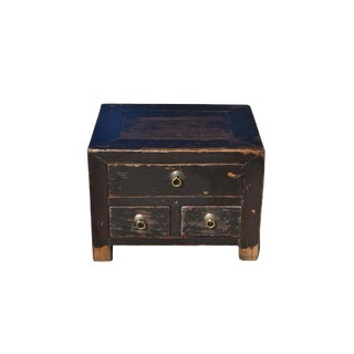 Antique Small 3 Drawers Heavy Chest For Sale