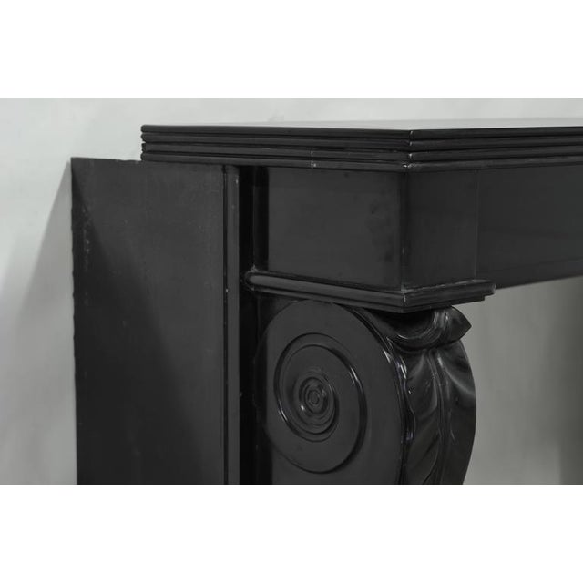 """A 19th century Napoleon III """"Griffe De Lion"""" fireplace in deep Belgian black marble. The lion paws are typical for this..."""